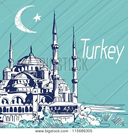 Hand Drawn Vector Illustration. Turkey