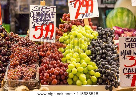 Variety Of Grapes In Pike Place Market