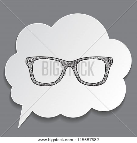 Hand-drawn Glasses In Dream Bubble Isolated