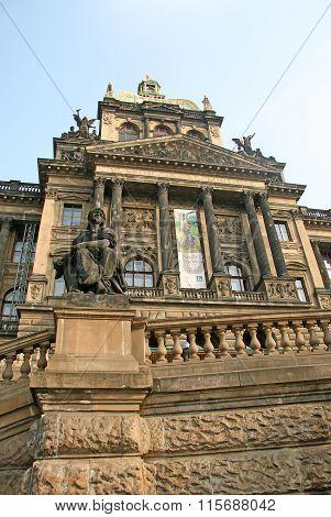 Prague, Czech Republic - April 16, 2010: Facade Of Czech National Museum At Wenceslas Square
