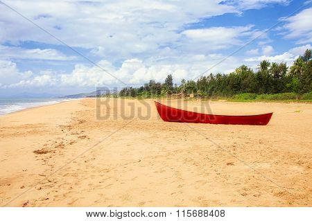 Red Boat On Beach