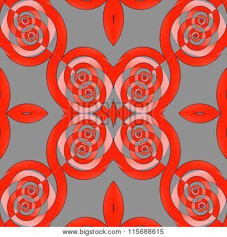 Seamless spiral pattern red pink gray