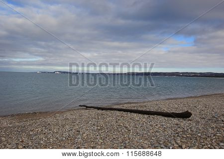 Good Harbor Bay beach with driftwood in winter