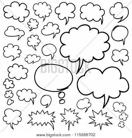 Hand Drawn Speech Bubbles And Thought Clouds Design Elements