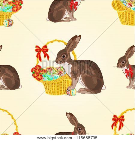 Seamless Texture Easter Hare With Basket Vector