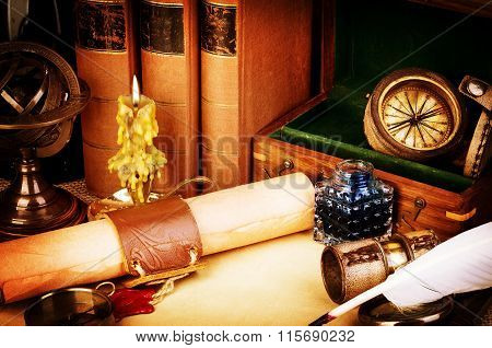 Old Books, Burning Candle, Spyglass, Old Scroll With Red Wax Seal, Vintage Compass. Adventure Storie