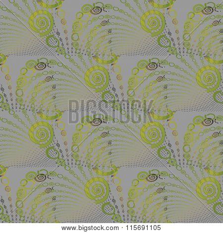 Seamless spiral pattern green gray