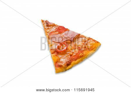 Delicious Pizza Piece With Bacon And Cherry Tomato