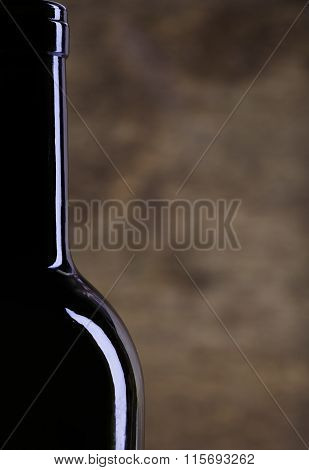 Perfect wine bottle silhouette on wood background