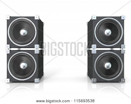 Two pairs of sound speakers. 3D