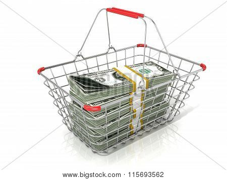 Steel wire shopping basket full of dollars stacks