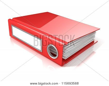 Red office folder. 3D