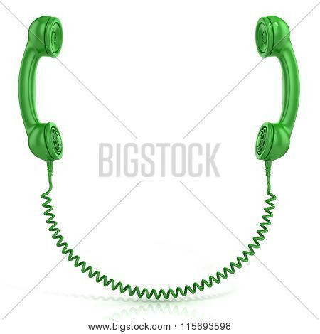 Green old fashion phone handsets connected