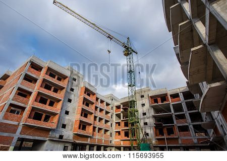 Crane Construction Bricks Concrete Building In City
