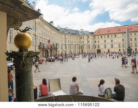 People Outside Royal Palace -  Prague
