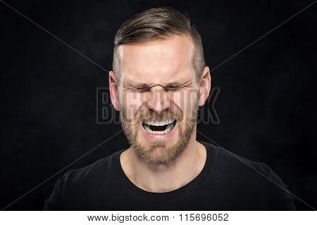 Man screaming angry.