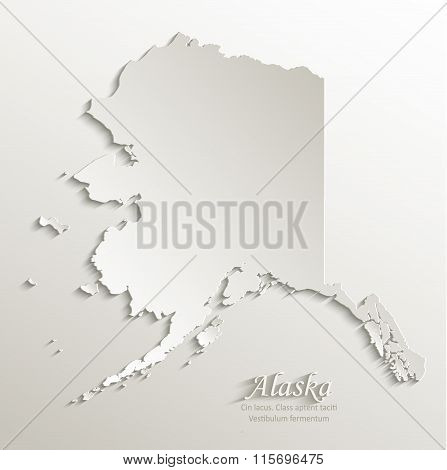 Alaska map card paper 3D natural vector