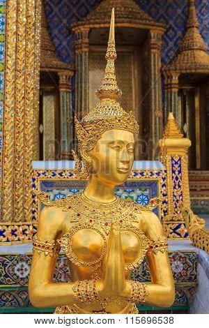 Golden Kinnaree Of Wat Phra Kaew In Bangkok