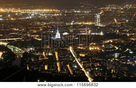 Aerial View Of Turin With Lights And The Mole Antonelliana