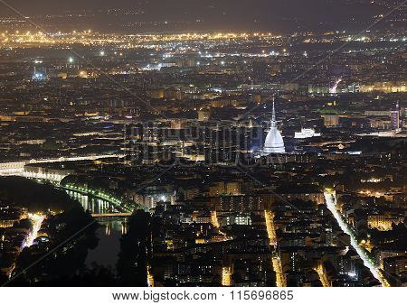 Turin In Italy With The Illuminated Buildings And Mole Antonelliana