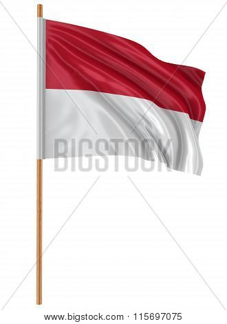 3D Indonesian flag with fabric surface texture. White background.
