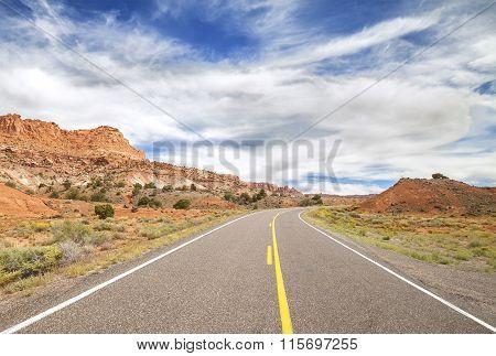 Picture Of A Scenic Desert Road, Usa.
