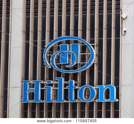 Sign Of Hilton Hotel, New York City.
