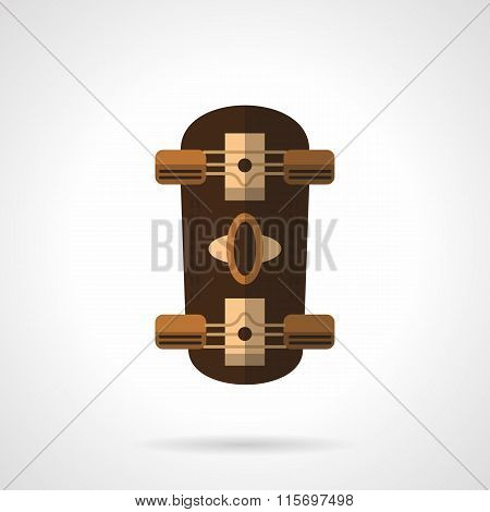 Brown longboard flat color vector icon.