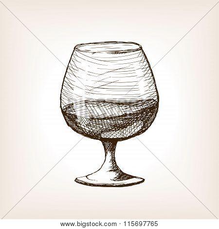 Cognac in glass sketch style vector
