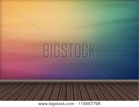 Colorful Background With Wooden Texture Floor