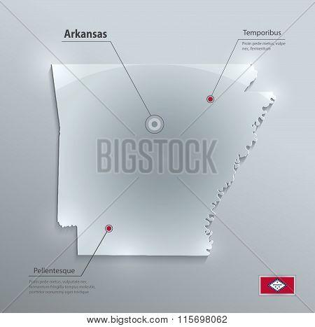 Arkansas map flag glass card paper 3D vector