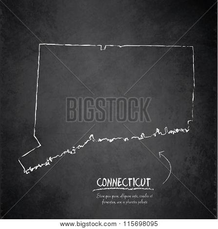 Connecticut map blackboard chalkboard vector