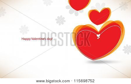 distorted heart with silhouette flowers valentine's day card