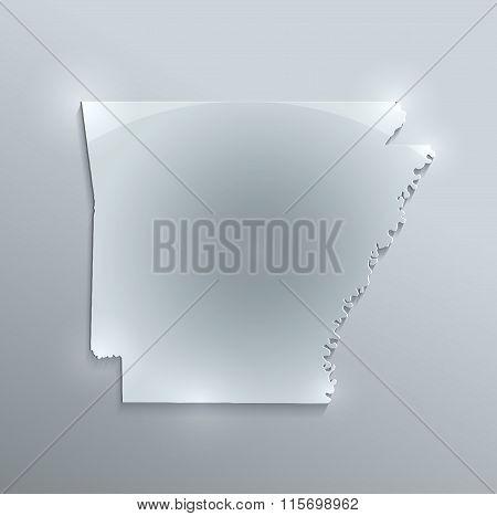 Arkansas map glass card paper 3D raster