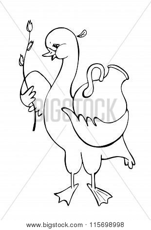 Goose With Tulip And Jug. Black And White Vector Illustration. Coloring Book.