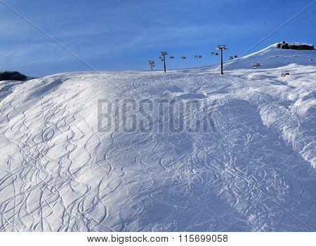 Sunlight Off-piste Slope At Morning