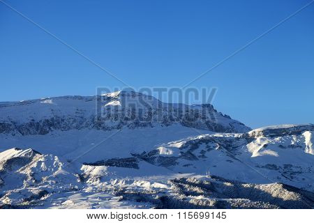 Winter Mountains At Nice Sun Morning