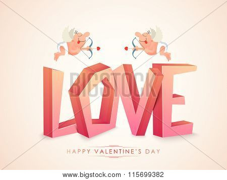 3D glossy text Love with cute cartoon of cupids on glossy background for Happy Valentine's Day celebration.