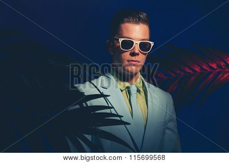 Gorgeous Young Man In Formal Suit With Sunglasses