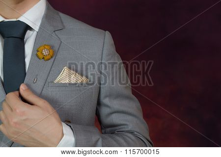 Grey Suit Plaid Texture, Necktie, Brooch, Handkerchief