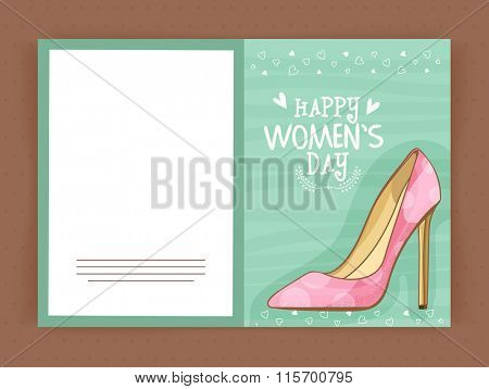 Elegant greeting card design decorated with illustration of high heel sandal for Happy Women's Day celebration.