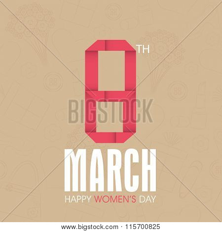 Elegant greeting card design decorated with stylish text 8 March mady by ribbon for Happy Women's Day celebration.