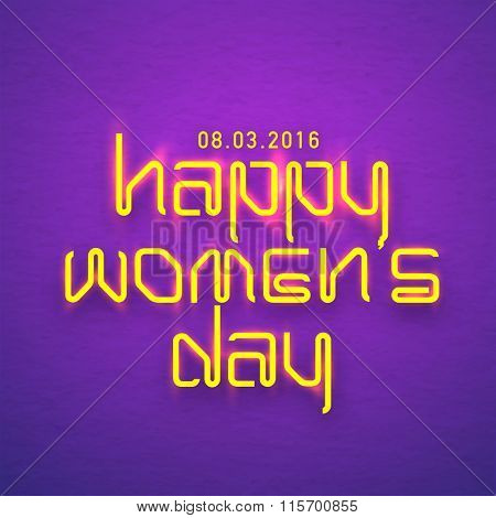 Elegant greeting card design with stylish shiny text Happy Women's Day on purple background.