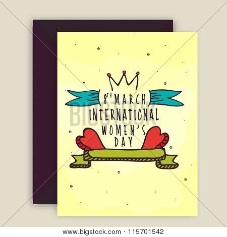 Elegant greeting card design with envelope for Happy Women's Day celebration.
