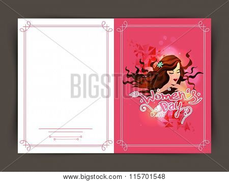 Elegant greeting card design with illustration of young girl for Happy Women's Day celebration.