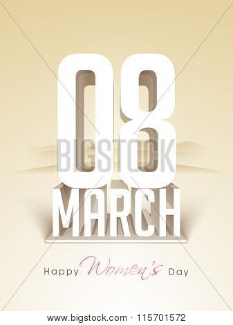 Elegant greeting card design with stylish 3D text 8 March for Happy Women's Day celebration.
