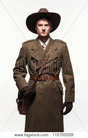 Ranger Uniform Fashion Man Against White Background.