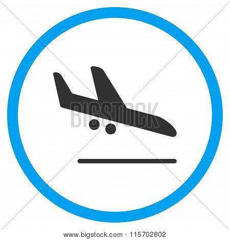 Aiplane Landing Circled Icon