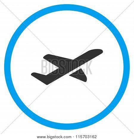 Airplane Takeoff Circled Icon