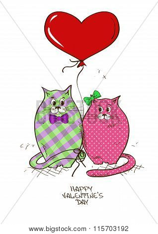 Valentine's Greeting Card With Pair Of Cats